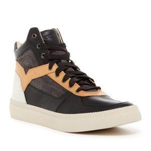 Diesel New Black Mid-Top Leather & Suede Sneaker